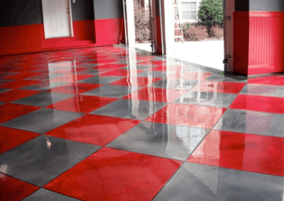 Themed garage floor